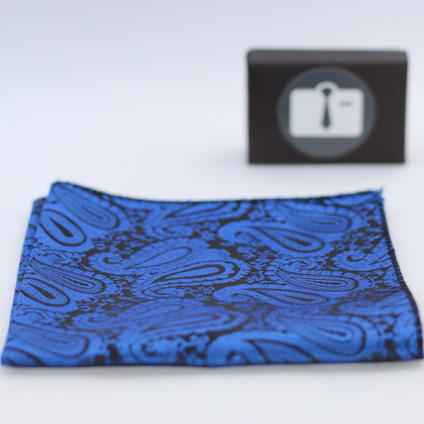 Black Paisley Pocket Square With Navy Design