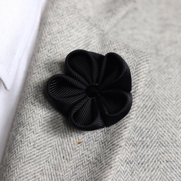 Black Silk Ribbon Lapel Flower
