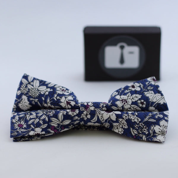 Blue Floral Bow Tie With White Botanical Design