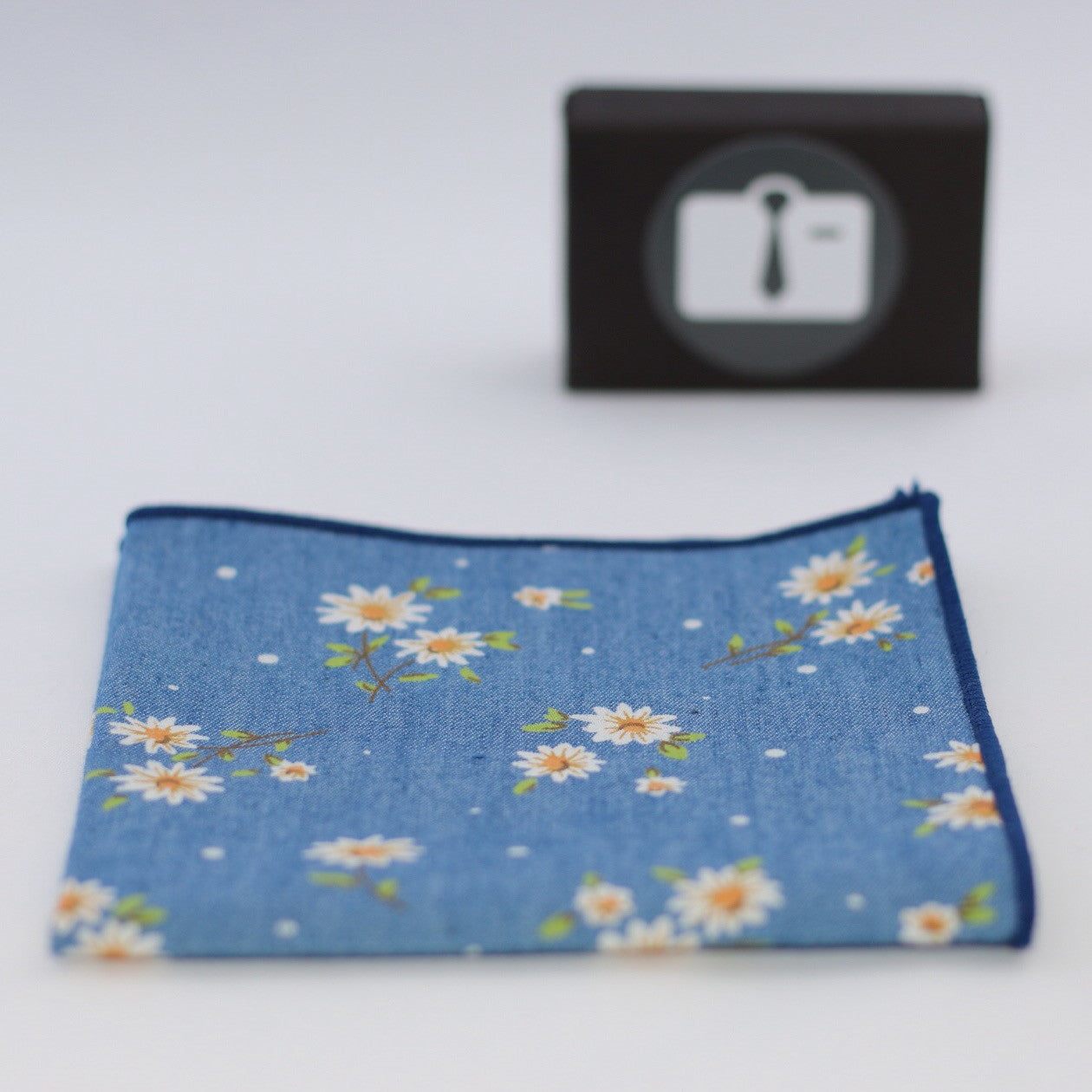 Blue Floral Pocket Square With White Daisy Design