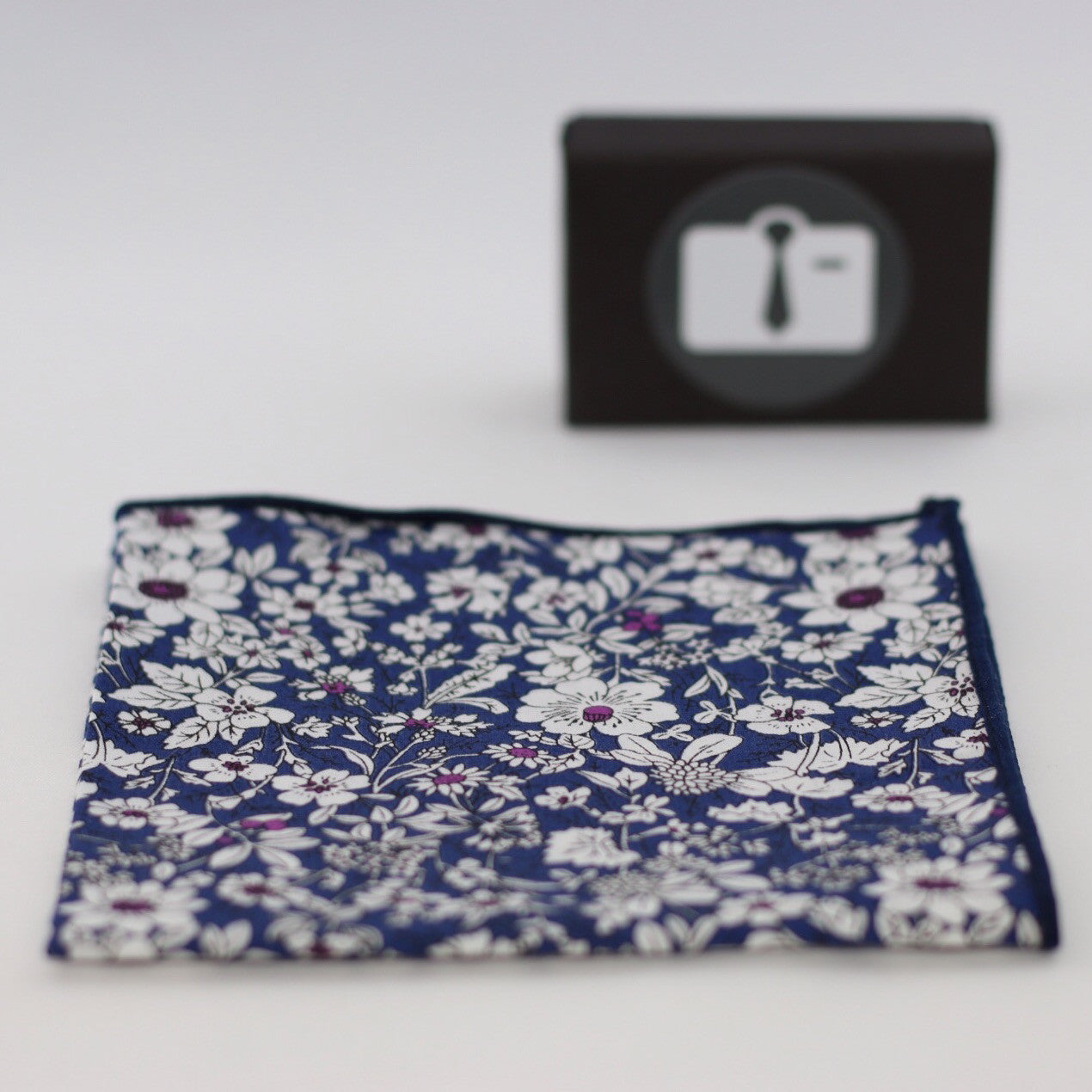 Blue Floral Pocket With White Botanical Design