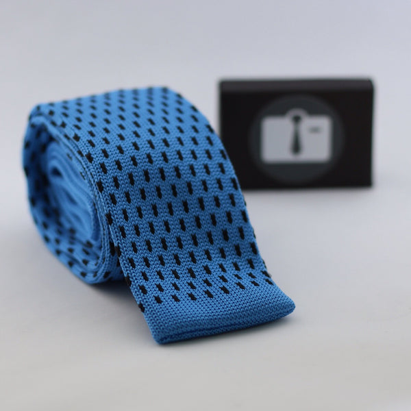 Blue Knitted Tie With Black Pixel Dots
