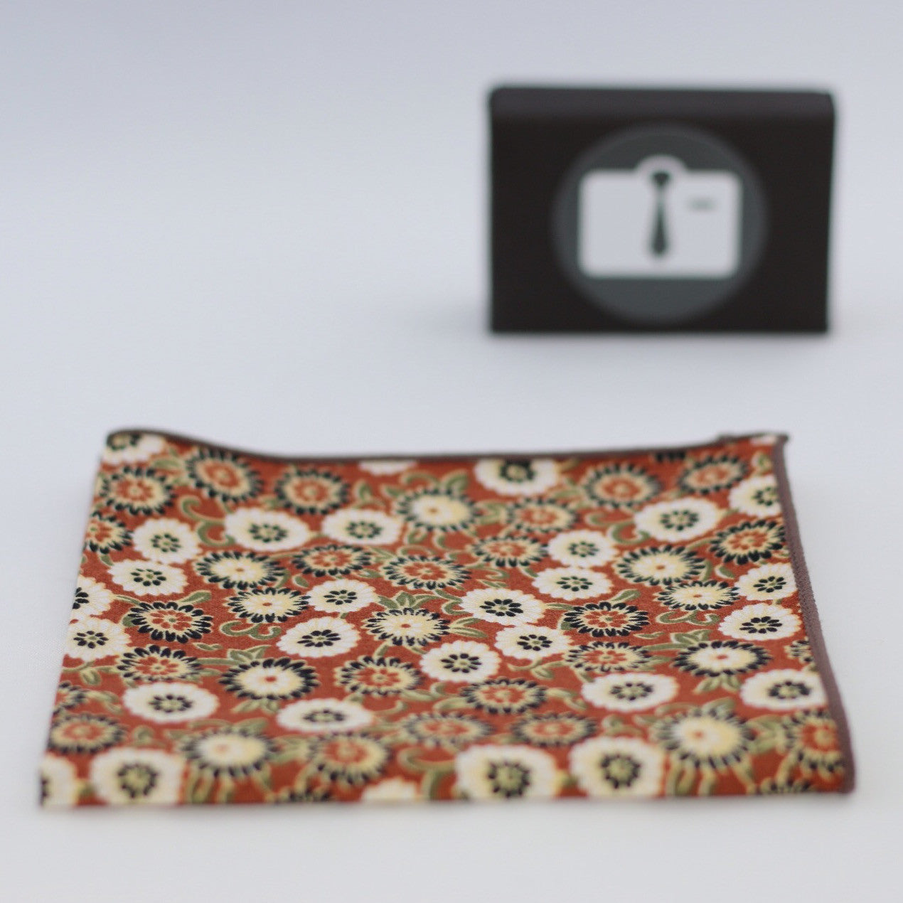 Brown Floral Pocket Square With Aztec Design