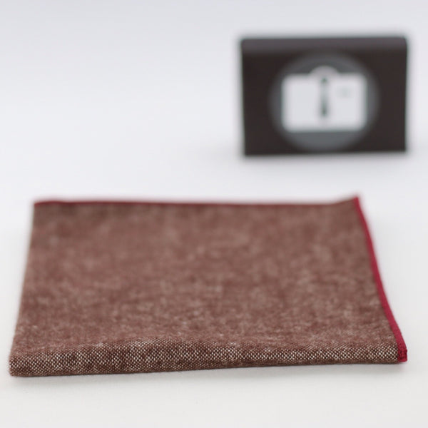Brown Stretch Pocket Square With Burgundy Border