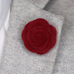 Burgundy Felt Lapel Flower
