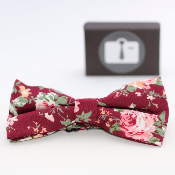 Burgundy Floral Bow Tie With Pink And White Rose Design