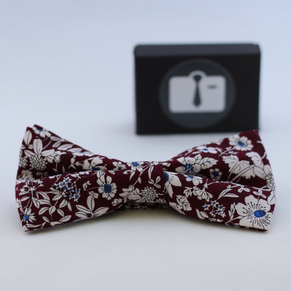 Burgundy Floral Bow Tie With White Botanical Design
