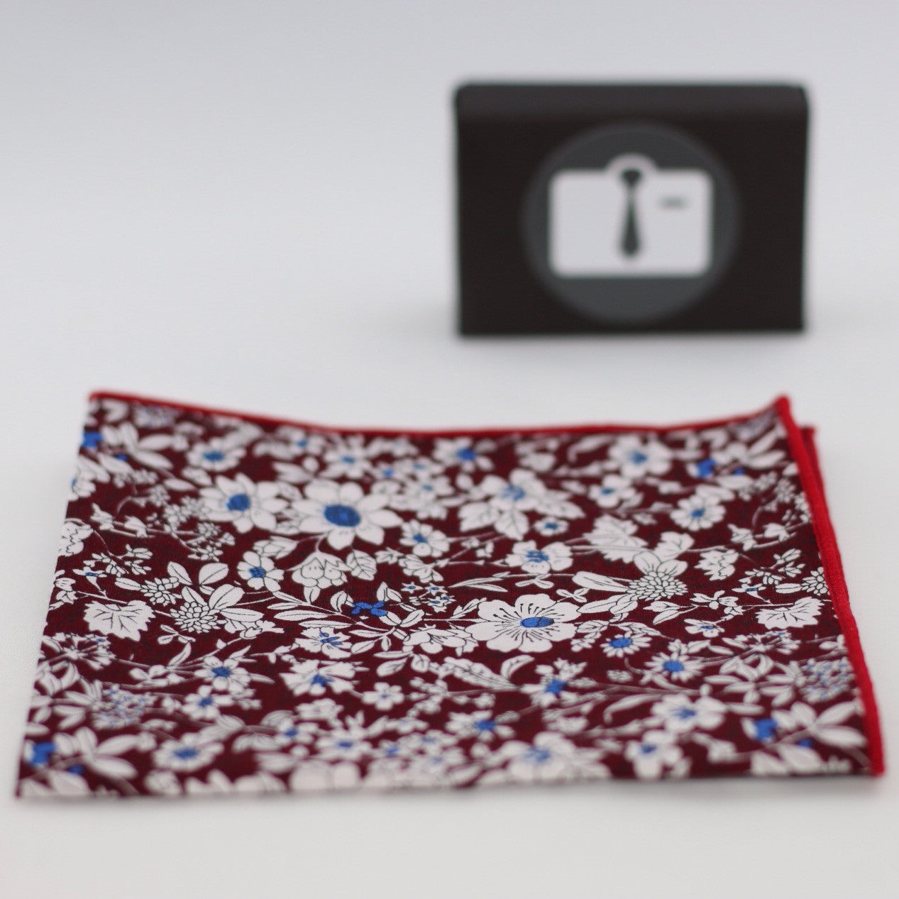 Burgundy Floral Pocket Square With White Botanical Design