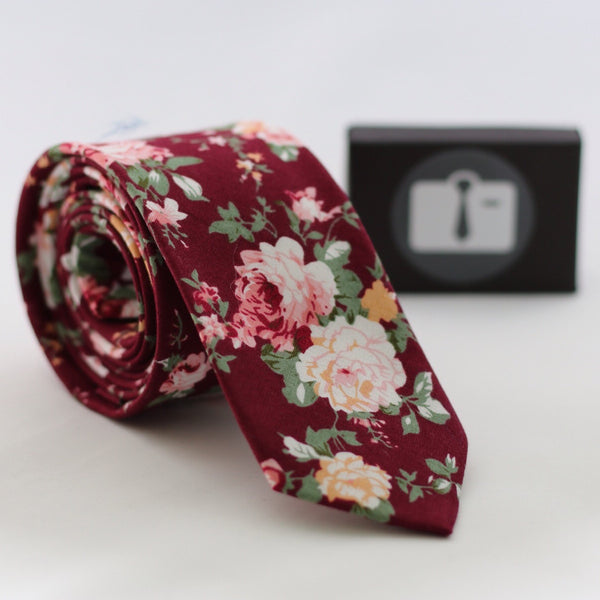 Burgundy Floral Tie With Pink And White Rose Design