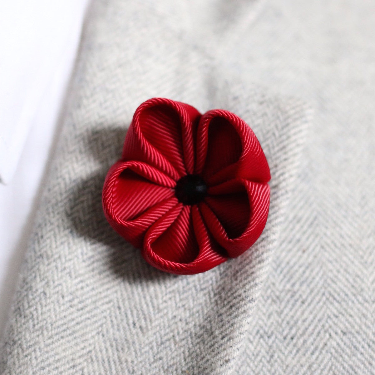 Burgundy Silk Ribbon Lapel Flower