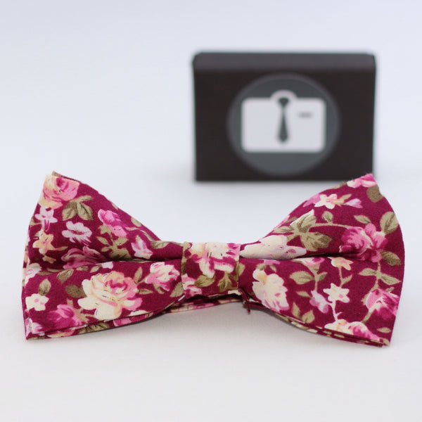 Coral Floral Bow Tie With Pink And White Bloom Design