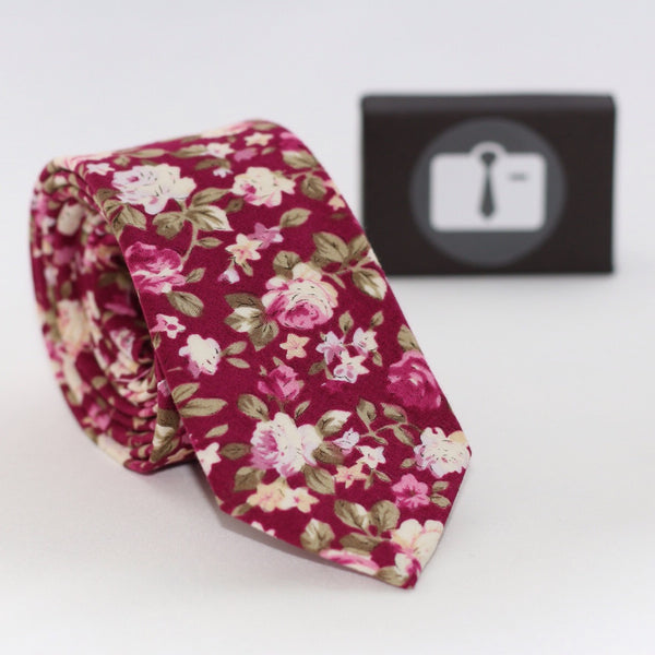 Coral Floral Tie With Pink And White Bloom Design
