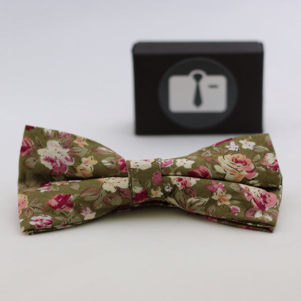 Gold Floral Bow Tie With Pink And White Bloom Design