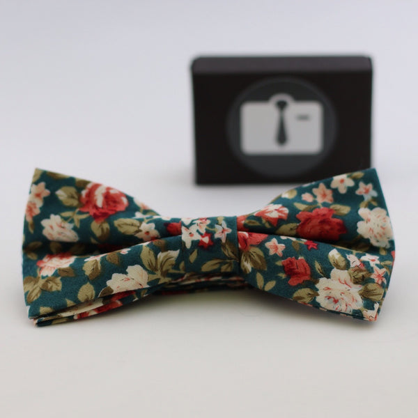Green Floral Bow Tie With Coral And Pink Bloom Design