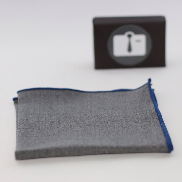 Grey Pocket Square With Navy Border