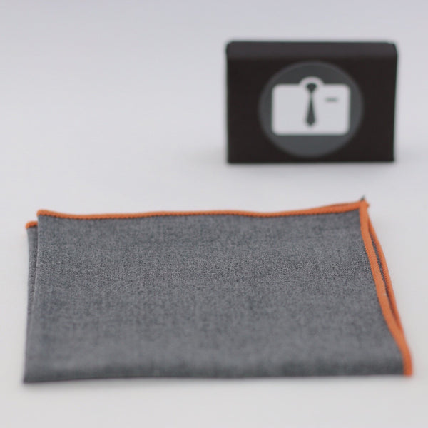 Grey Stretch Pocket Square With Orange Border