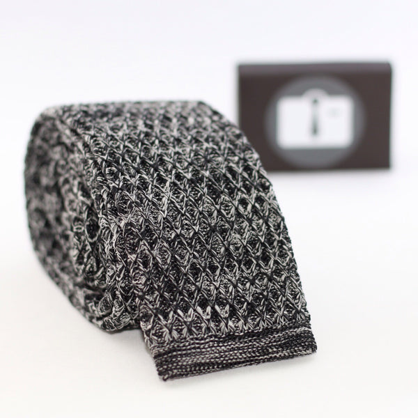 Grey And White Marl Argyle Textured Knitted Tie