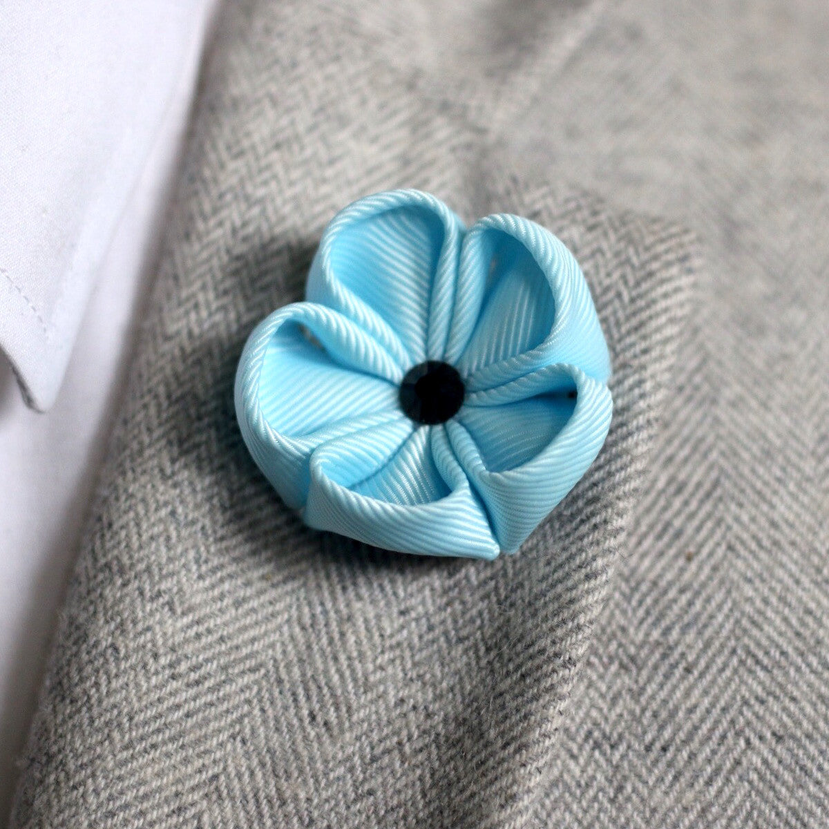 Mineral Blue Silk Ribbon Lapel Flower