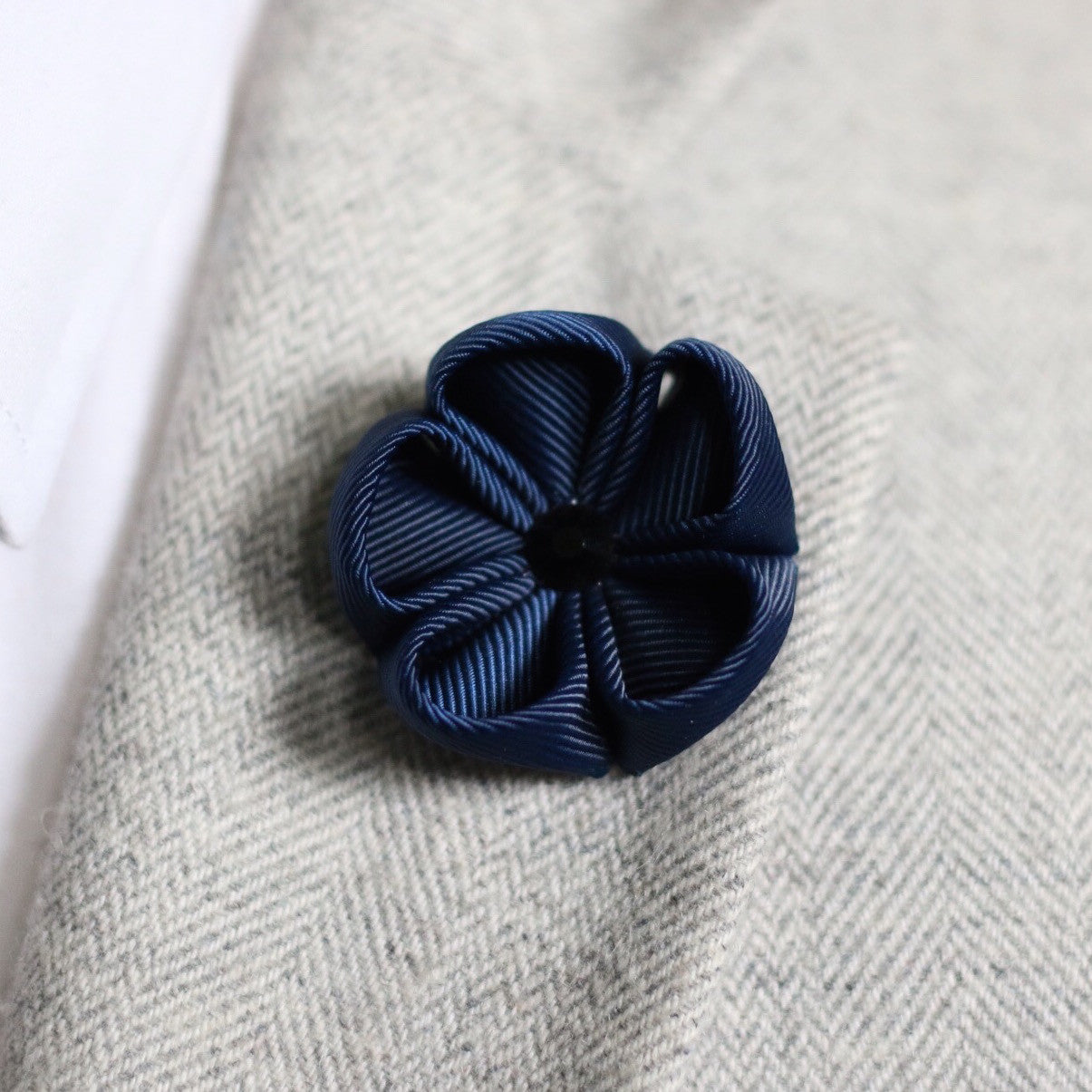 Navy Blue Silk Ribbon Lapel Flower