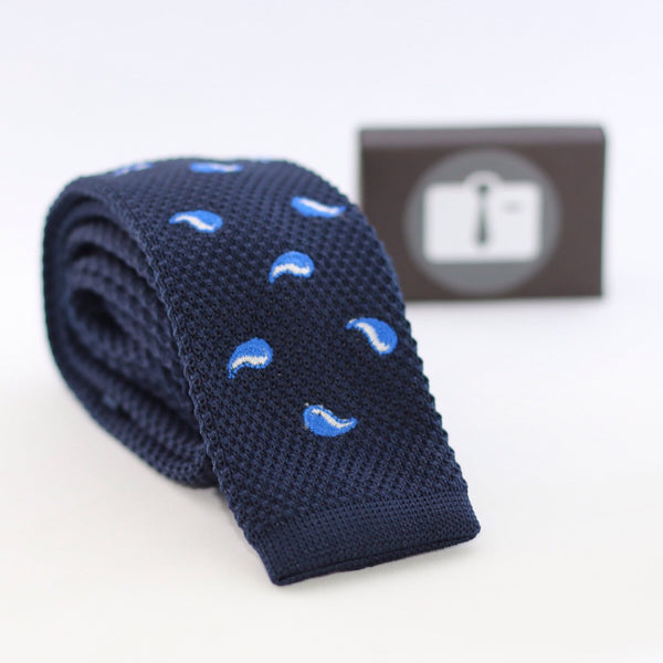 Navy Knitted Tie With Blue And White Paisley Design