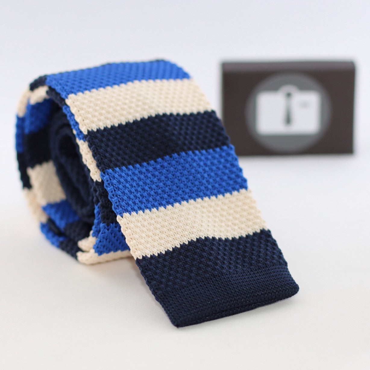 Navy Knitted Tie With Ivory And Royal Blue Stripes