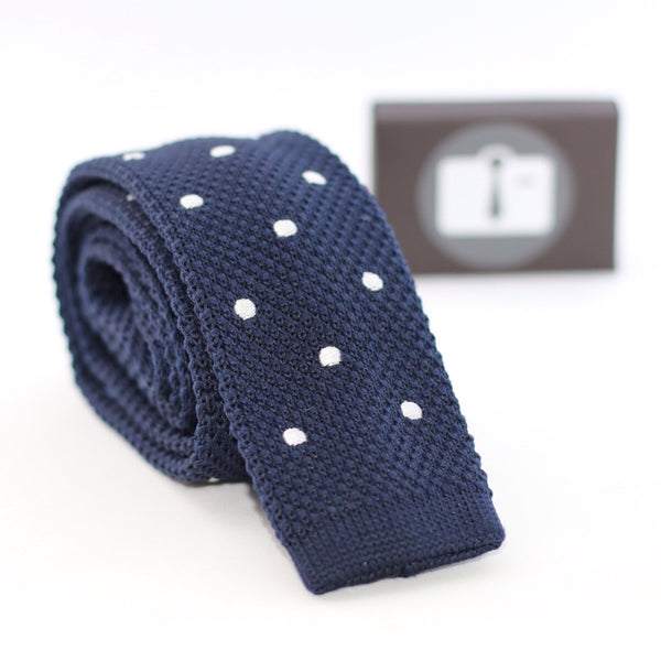 Navy Knitted Tie With White Polka Dots