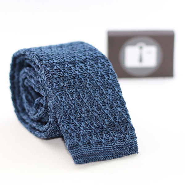 Navy And Black Marl Argyle Textured Knitted Tie