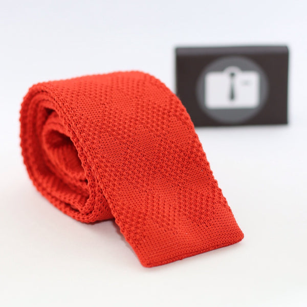 Orange Knitted Tie With Textured Diamond Pattern