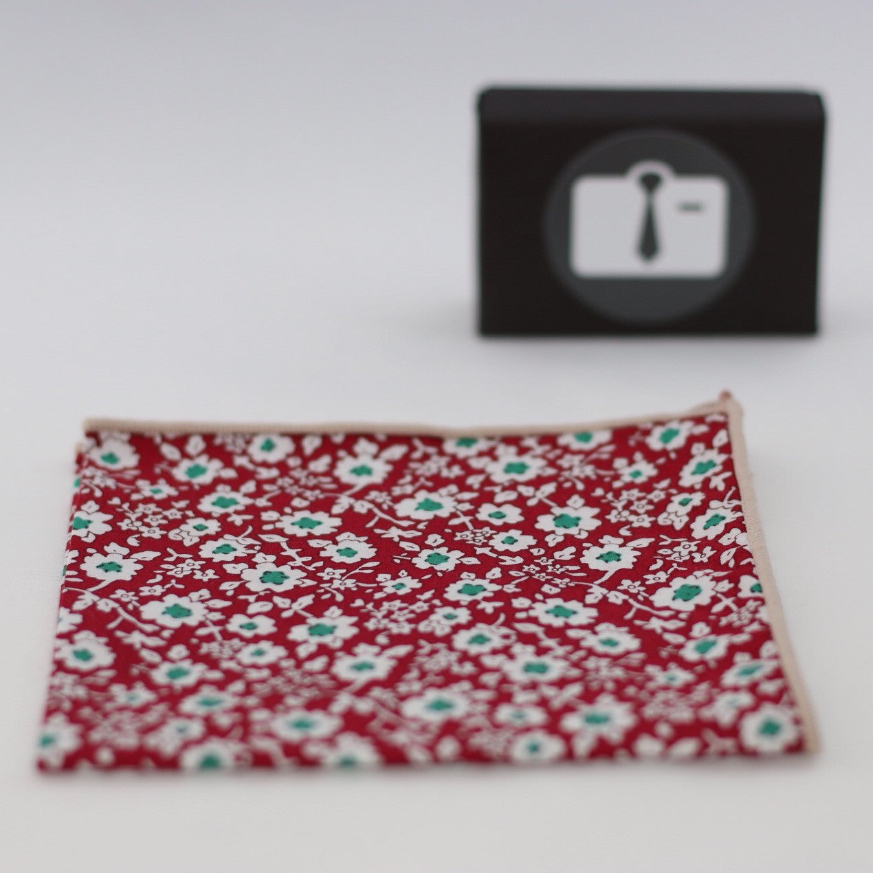 Red Floral Pocket Square With White Botanical Design