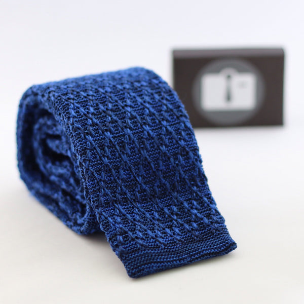 Royal Blue And Black Marl Argyle Textured Knitted Tie