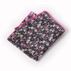Black Floral Pocket Square With Pink And White Cluster Design