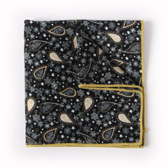 Black Paisley Pocket Square With Yellow And White Design