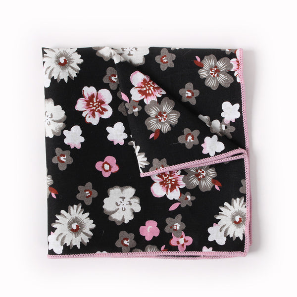 Black Floral Pocket Square With White And Pink Lily Design