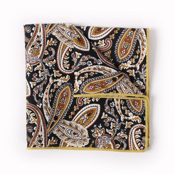 Black Paisley Pocket Square With Brown Design