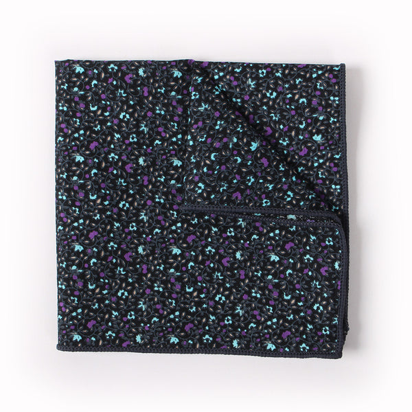 Black Floral Pocket Square With Purple And Blue Design