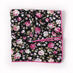 Black Floral Pocket Square With Pink And White Bloom Design