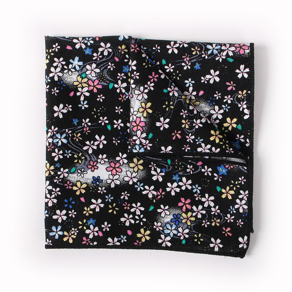 Black Floral Pocket Square With Cosmos Design