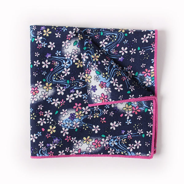 Navy Floral Pocket Square With Cosmos Design