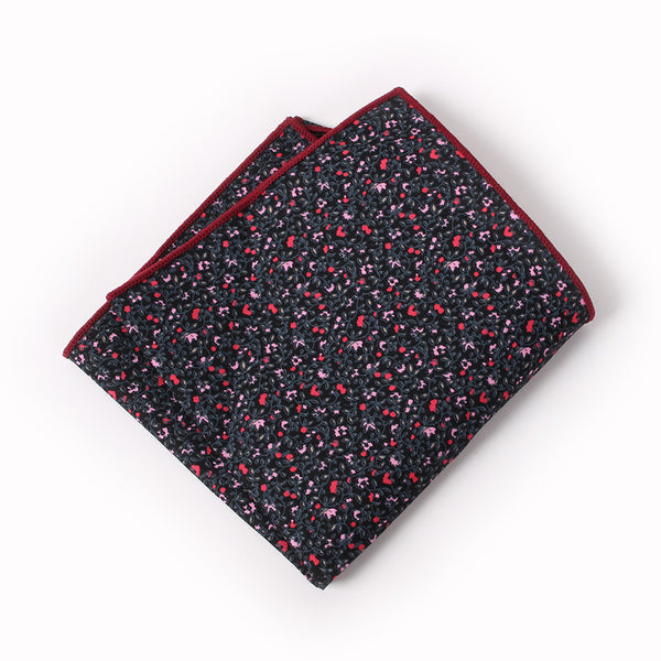 Black Floral Pocket Square With Red Design