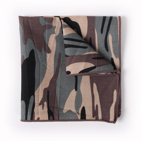 Brown Pocket Square With Camoflage Design