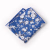 Blue Floral Pocket Square With White Rose Design