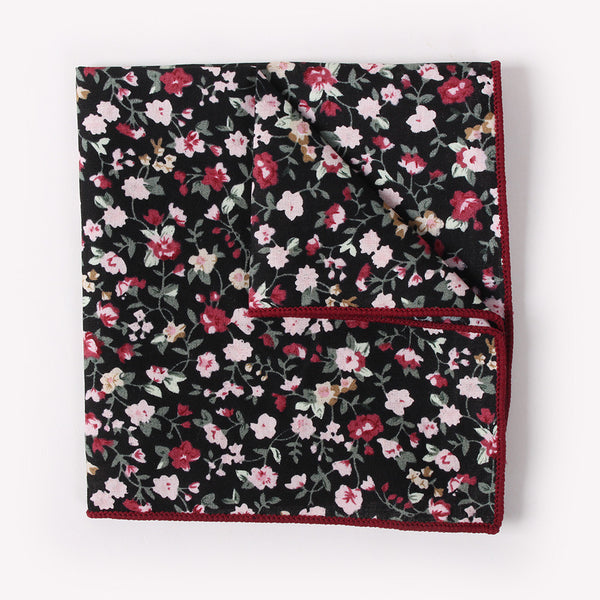 Black Floral Pocket Square With Salmon Design