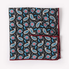 Black Paisley Pocket Square With Blue And Red Design