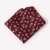 Burgundy Floral Pocket Square With White And Brown Design