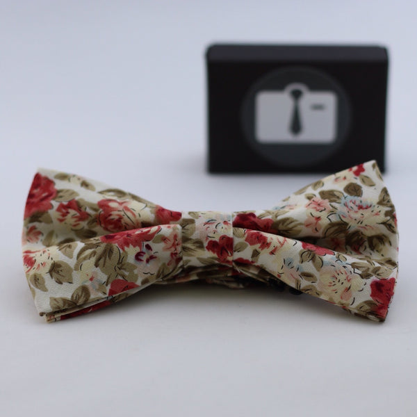 White Floral Bow Tie With Coral And Gold Bloom Design