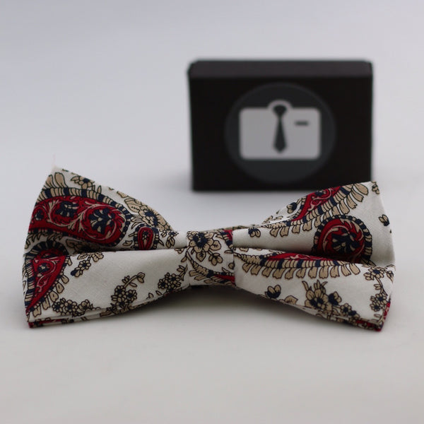 White Paisley Bow Tie With Red And Black Design