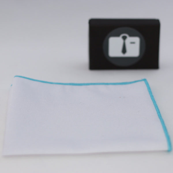 White Pocket Square With Light Blue Border