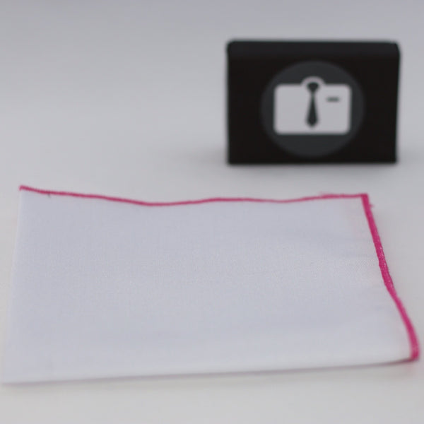 White Pocket Square With Fuchsia Border