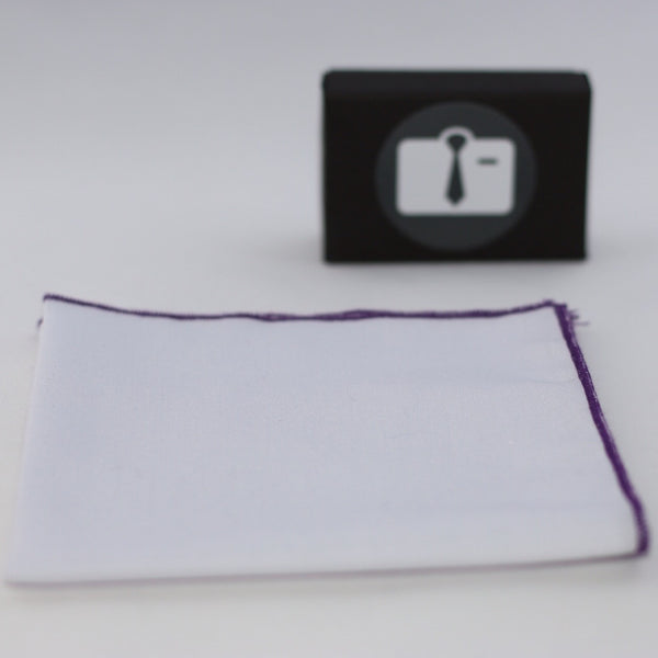 White Pocket Square With Grape Purple Border