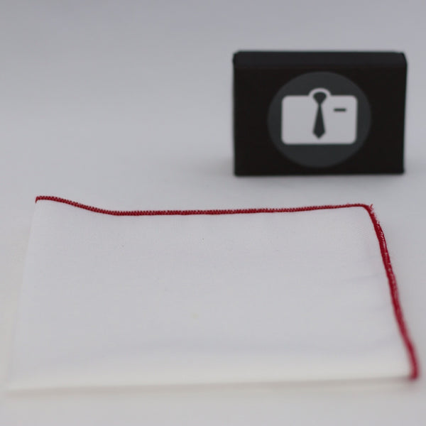 White Pocket Square With Crimson Red Border